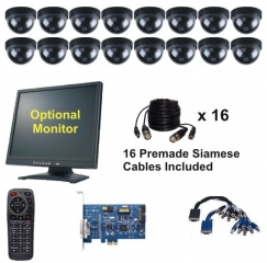 CCTV 16 Dome Cameras Pc Based DVR Card Package