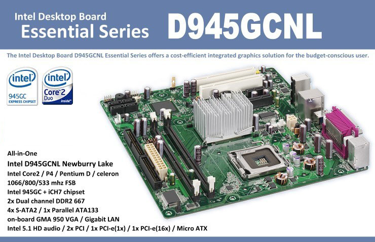 Intel D945GCNL Essential Series Motherboard | ClickBD