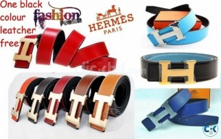 HERMES PARIS leather belt in various colour with a free al