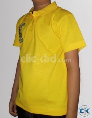 Boys Yellow Cotton Half Sleeves Polo Tshirt