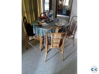 Round Dining Table with 4 pieces of Chairs Made of Cane Bam