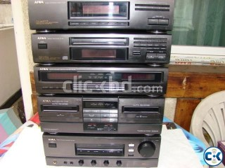 AIWA 5 PICE STERIO FULL SETUP WITH ANALYZER JAPAN FULL FRESH