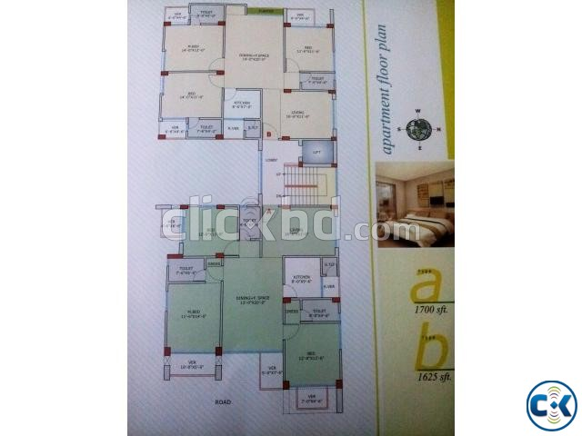 Khondoker Villa Flat for sale at Shiddeswari | ClickBD large image 2