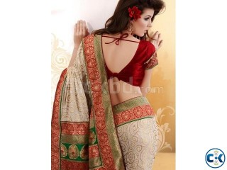 Beautiful Beige Saree - Code Shimmer 4631