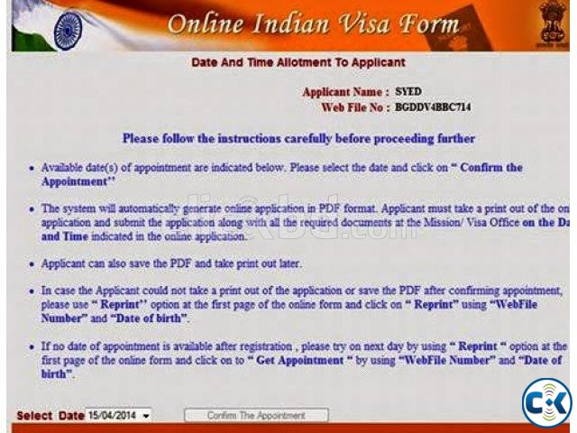 Indian Visa Appointment Clickbd