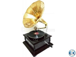 Gramophone Record Player with Square Base and Brass Horn