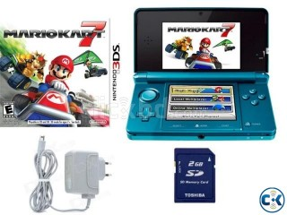 Nintendo 3DS Aqua Blue USA Full Set With Mario Kart 7 Game