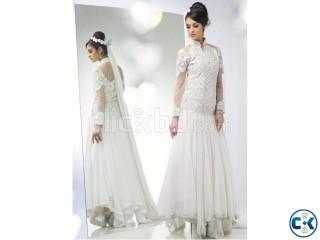 Beauteous white wedding wear anarkali suit