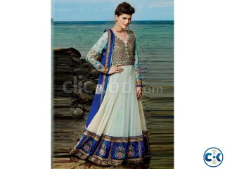 Beautiful light blue cream wedding anarkali suit