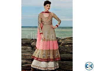 Sightly brown pink wedding net anarkali suit