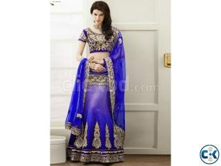 Buy salwar kameez online breezy blue brocade lehenga choli