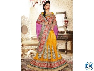 Buy salwar kameez engrossing yellow and pink lehenga choli