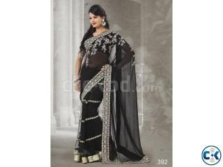 Classy black georgette party wear net saree