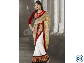 Lovely white brown silk chiffon bridal saree
