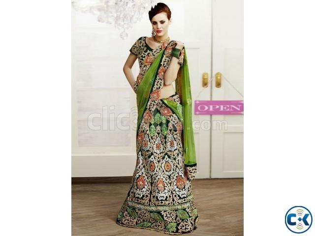 Ravishing Green Velvet Lehenga Choli | ClickBD large image 0