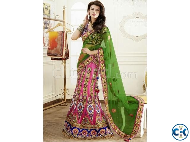 Fine Pink And Green Lehenga Choli | ClickBD large image 0
