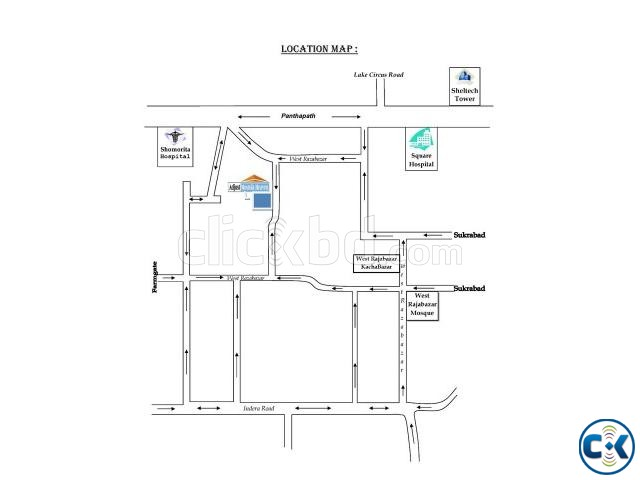 1640 sft Flat In Panthapath Near Square Hospital  | ClickBD large image 4