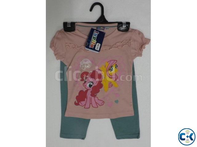Girls short sleeve printed t-shirt set | ClickBD large image 0