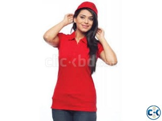 Stylish Red Color Ladies Polo T-shirt
