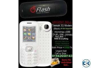 Urgently sell Micromax X088 Mobile Teletalk 3g Modem