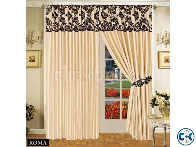 LUXURIOUS FULLY LINED ITALIAN CURTAINS CREAM BLACK 66 x72 | ClickBD
