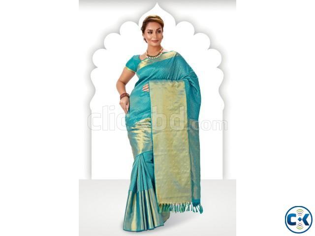 Light bluezari weaved pure silk saree in golden pallu   ClickBD large image 0