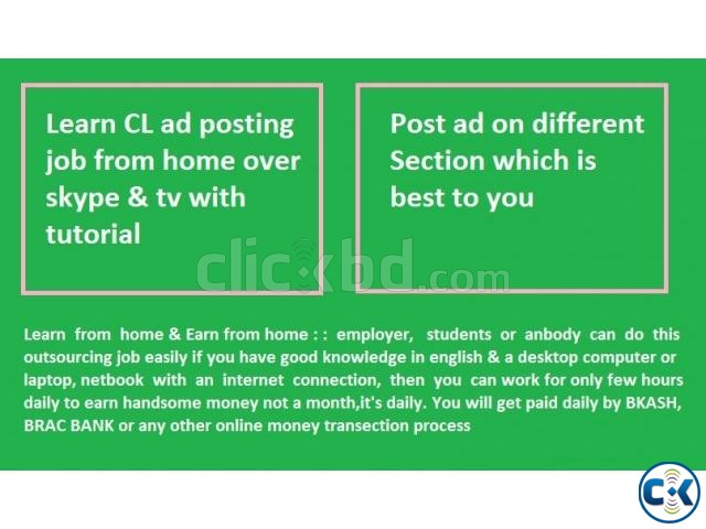 Learn AD posting JOB Earn from home | ClickBD