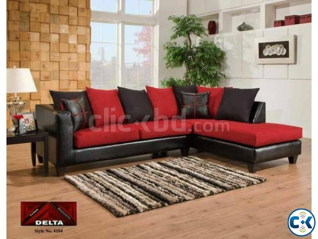 Black And Red L Shape Sofa