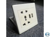 Multifunction 2-pin an 3-pin Electrical Wall Socket with USB