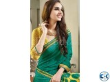 Yellow green georgette print sharee