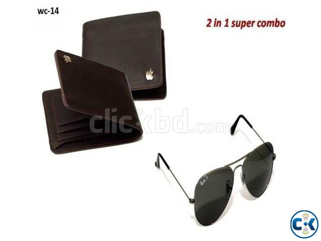 Apple Leather Wallet and Sunglass Combo | ClickBD large image 0