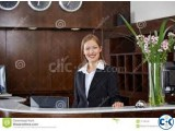 Female receptionist computer operator