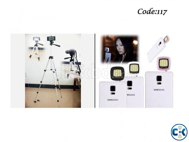 Combo Offer - Stand and Mobile Stand 16 LED Selfie Flash Lig | ClickBD large image 0