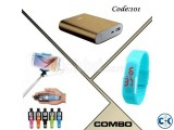 Combo Of Power Bank Monopod Selfie Stick LED Watch
