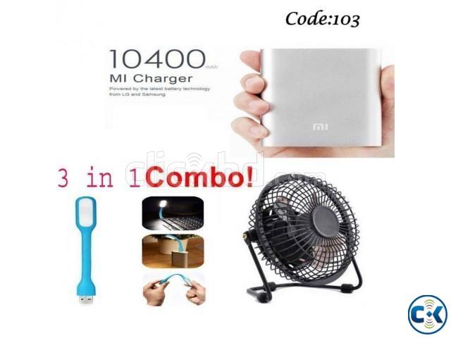 Combo Offer - MI 10400mAh Power Bank USB fan LED light 6 | ClickBD large image 0