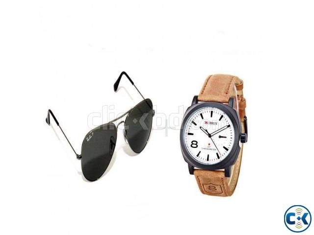 5cb729d47d3 Combo Of Curren Watch Ray-Ban Sunglasses