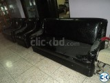Full Set Drawing Room Black Sofa 3-2-1