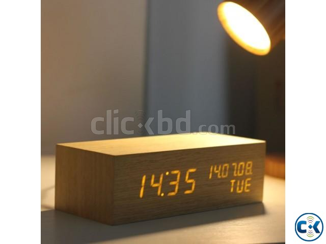 WOODEN TABLE DIGITAL CLOCK | ClickBD large image 1