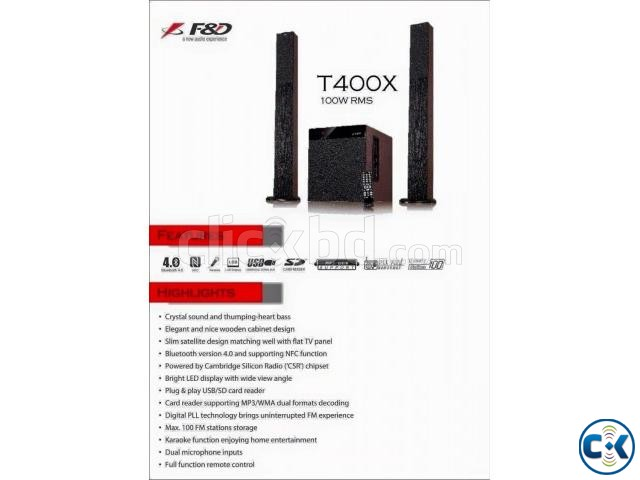 F D T400X 2.1 Tower Speaker System | ClickBD large image 0