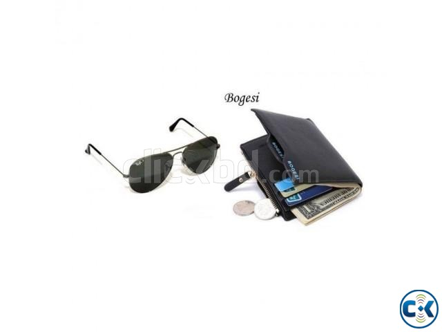 Bogesi Leather Black and Men s Wallet and Ray Ban Men s Sung | ClickBD large image 0