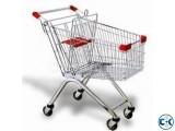 Supermarket 4 Wheel Metal Shopping Trolley in Bangladesh