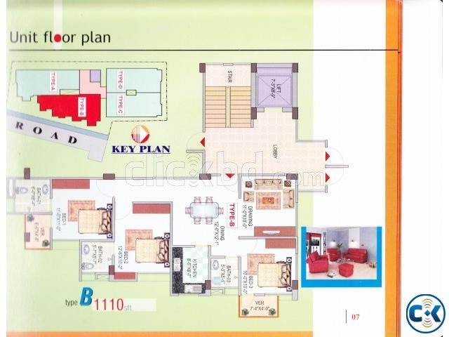 Beautiful Flat B-1110sqft Badda | ClickBD large image 4