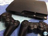 PS3 250 gb black with 2 controller and 7 original games