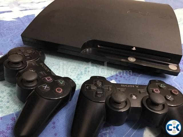 PS3 250 gb black with 2 controller and 7 original games | ClickBD large image 0