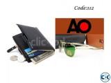 Combo Offer - Bogesi Leather Black Men s Wallet AO Sunglasse