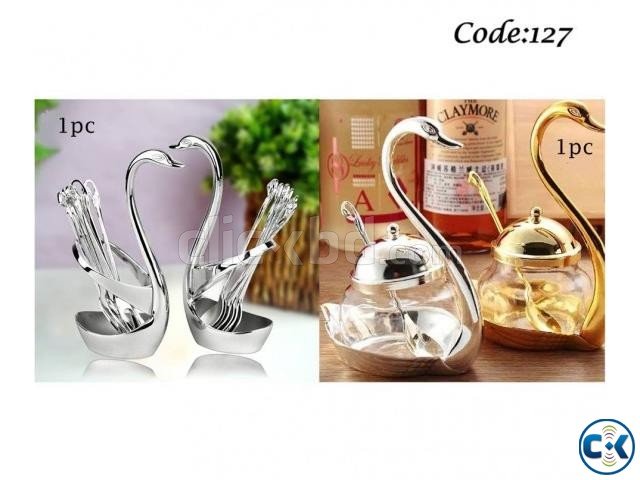 Combo offer spoon set with swan stand 1pc swan sugar for Kitchen set combo offer