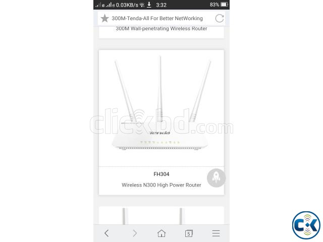 Tenda wireless n300 high power router fh303 | ClickBD large image 1