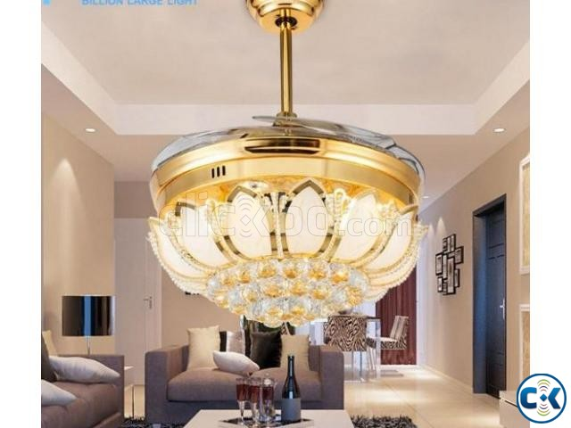 Fashionable Luxurious Crystal Led Light Ceiling Fan With