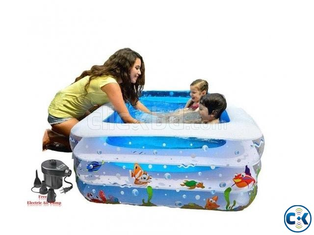 Original INFLATABLE BABY SWIMMING POOL with e-pumper | ClickBD large image 1