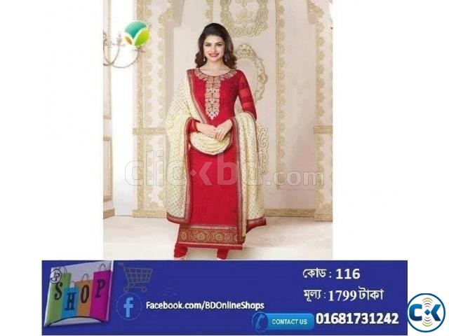 Women s Semi-Stitched Georgette Dress | ClickBD large image 0